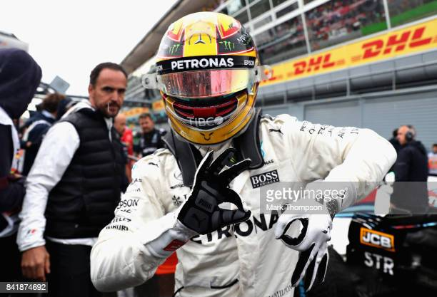 Pole position qualifier Lewis Hamilton of Great Britain and Mercedes GP celebrates during qualifying for the Formula One Grand Prix of Italy at...