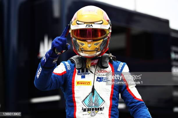 Pole position qualifier Lirim Zendeli of Germany and Trident celebrates during qualifying for the Formula 3 Championship at Circuit de...