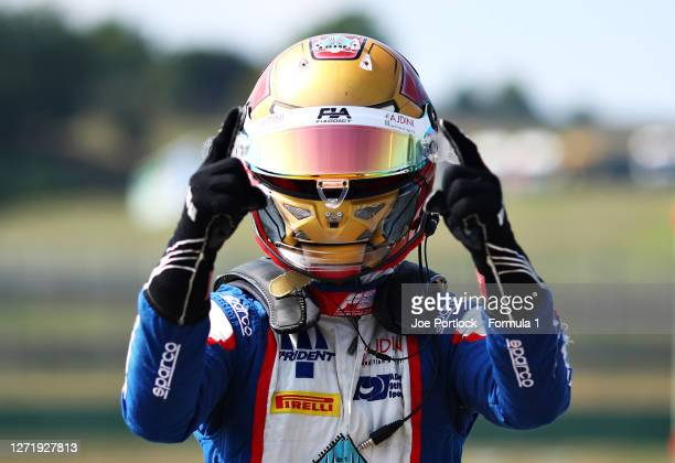 Pole position qualifier Lirim Zendeli of Germany and Trident celebrates in parc ferme during qualifying for the Formula 3 Championship at Mugello...