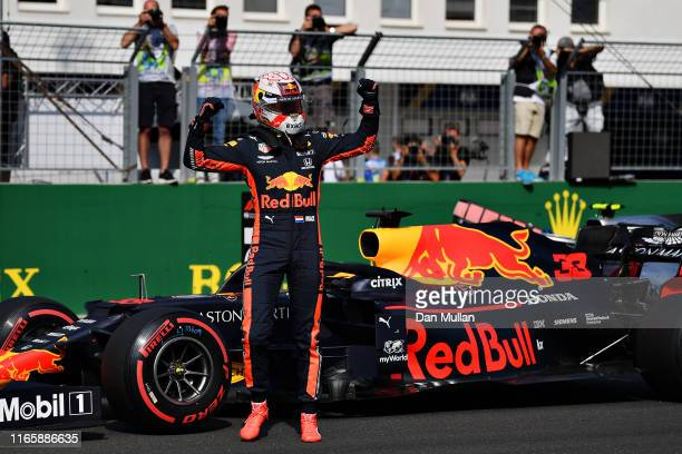 Pole position qualifier Max Verstappen of Netherlands and Red Bull Racing celebrates in parc ferme during qualifying for the F1 Grand Prix of Hungary...