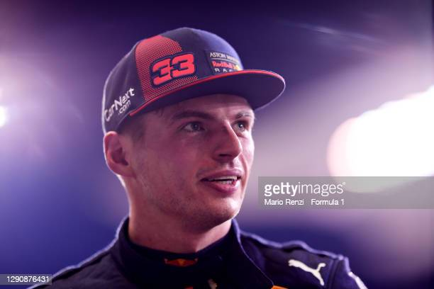 Pole position qualifier Max Verstappen of Netherlands and Red Bull Racing looks on in parc ferme during qualifying ahead of the F1 Grand Prix of Abu...