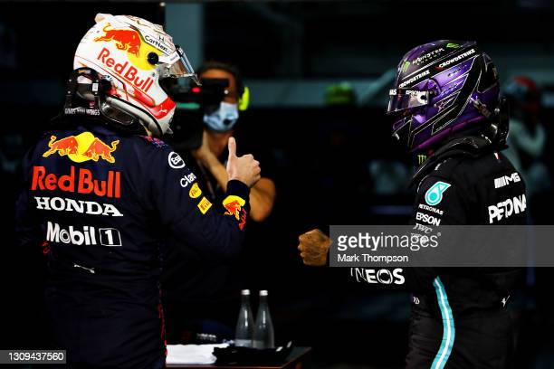 Pole position qualifier Max Verstappen of Netherlands and Red Bull Racing and second place qualifier Lewis Hamilton of Great Britain and Mercedes GP...