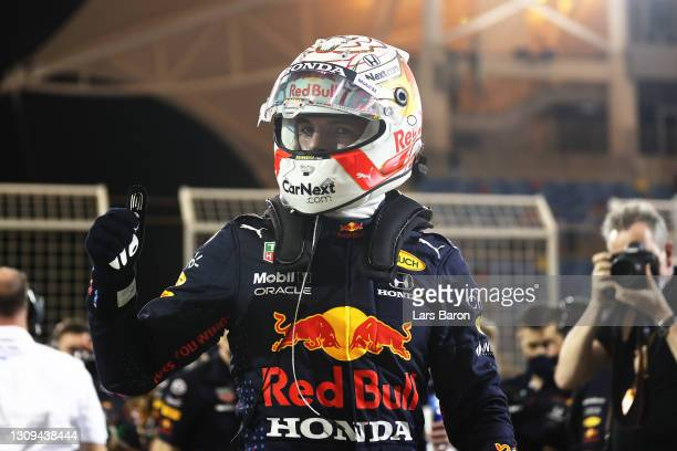 Pole position qualifier Max Verstappen of Netherlands and Red Bull Racing celebrates in parc ferme during qualifying ahead of the F1 Grand Prix of...