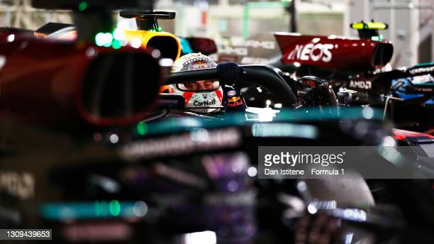 Pole position qualifier Max Verstappen of Netherlands and Red Bull Racing stops in parc ferme during qualifying ahead of the F1 Grand Prix of Bahrain...