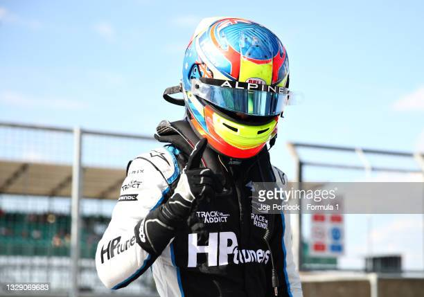 Pole position qualifier Oscar Piastri of Australia and Prema Racing celebrates in parc ferme during qualifying ahead of Round 4:Silverstone of the...