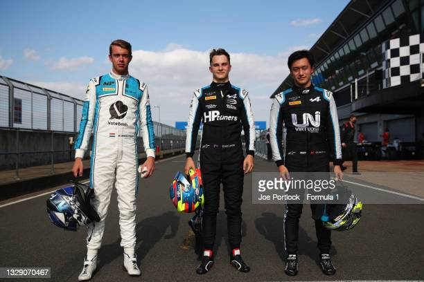 Pole position qualifier Oscar Piastri of Australia and Prema Racing , second place qualifier Guanyu Zhou of China and UNI-Virtuosi Racing and third...