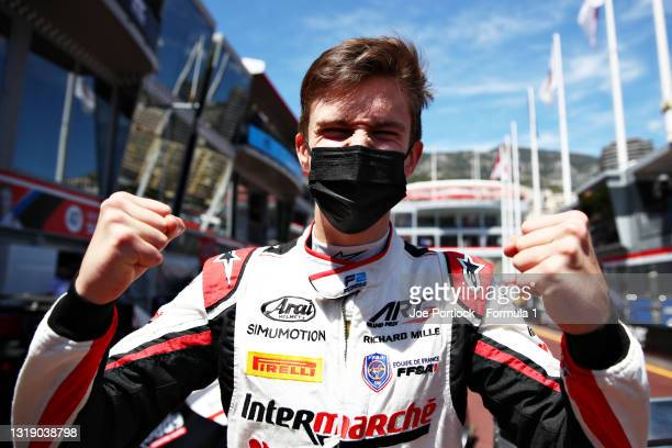 Pole position qualifier Theo Pourchaire of France and ART Grand Prix celebrates in parc ferme during qualifying for Round 2:Monte Carlo of the...