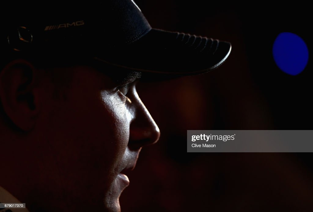 Pole position qualifier Valtteri Bottas of Finland and Mercedes GP talks to the media after qualifying for the Abu Dhabi Formula One Grand Prix at Yas Marina Circuit on November 25, 2017 in Abu Dhabi, United Arab Emirates.