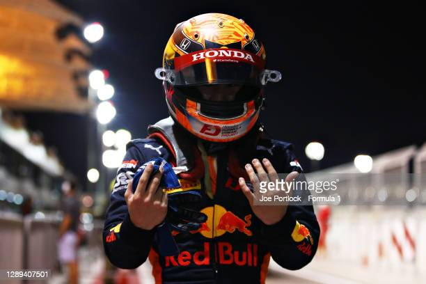 Pole position qualifier Yuki Tsunoda of Japan and Carlin celebrates in parc ferme during qualifying ahead of Round 12:Sakhir of the Formula 2...