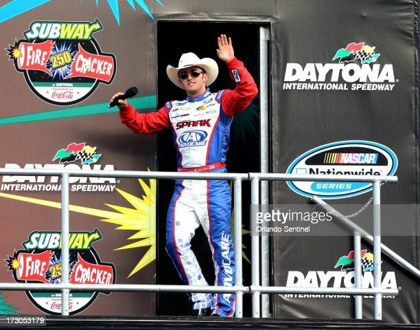 Pole sitter Austin Dillon is introduced before the start of the NASCAR Nationwide series' Subway Firecracker 250 at Daytona International Speedway on...