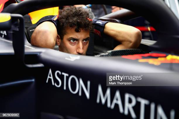 Pole sitter Daniel Ricciardo of Australia and Red Bull Racing sits in his car before the Monaco Formula One Grand Prix at Circuit de Monaco on May 27...