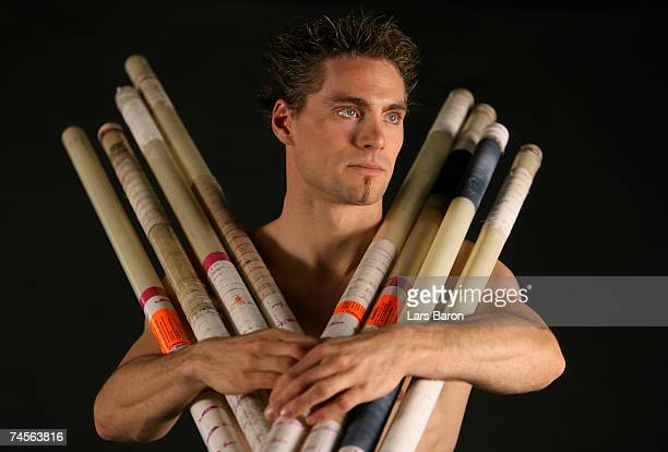 Pole vault jumper Bjoern Otto of Germany poses on March 27 2007 in Leverkusen Germany
