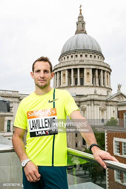 Pole vault world record holder and Olympic champion Renaud Lavillenie of France during a photocall to promote the Sainsbury's Anniversary Games at...