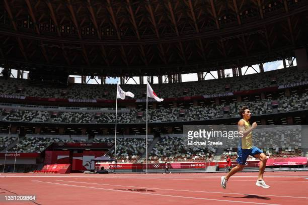 Pole vault world record holder Armand Duplantis of Sweden gets the feel of the track ahead of competition in athletics at the National Stadium ahead...