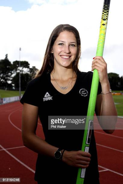 Pole Vaulter Eliza McCartney poses for a portrait during the Commonwealth Games New Zealand Athletics Selection Announcement at the Athletics New...