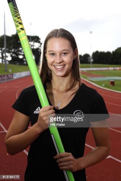 Pole Vaulter Olivia McTaggart poses for a portrait during the Commonwealth Games New Zealand Athletics Selection Announcement at the Athletics New...