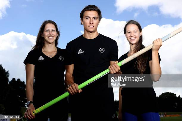 Pole Vaulters Eliza McCartneyNick Southgate and Olivia McTaggart pose for a portrait during the Commonwealth Games New Zealand Athletics Selection...