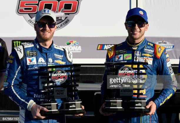 Pole winner Chase Elliott driver of the NAPA Chevrolet and Front Row winner Dale Earnhardt Jr driver of the Nationwide Chevrolet celebrate in Victory...