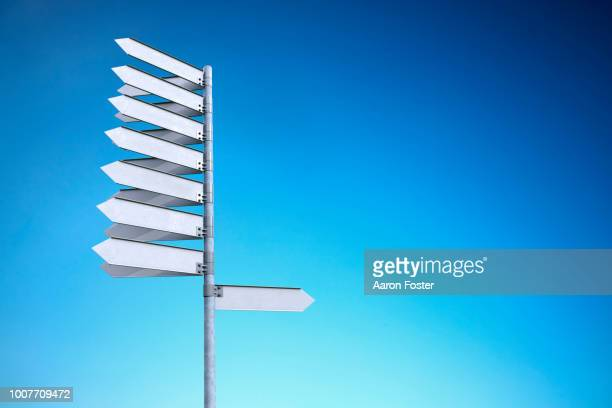 A 3D pole with blank street signs pointing all directions