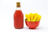 polenta pot with bottle homemade tomato