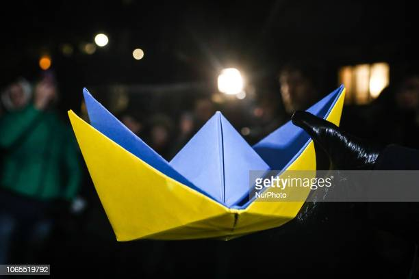 Poles and Ukrainians protest outside Russian Consulate General in Krakow after alleged aggression in the Azov sea by Russian coast guard vessels...