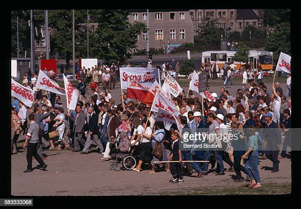 Poles participating in a rally against the closure of the Gdansk shipyards the cradle of the Solidarity movement in the runup to Poland's first free...