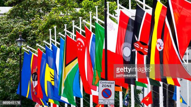 Poles with member flags of Commonwealth