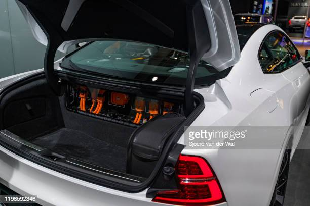Polestar 1 2door hybrid sports car coupe boot with battery connectrions on display at Brussels Expo on JANUARY 09 2017 in Brussels Belgium Polestar...