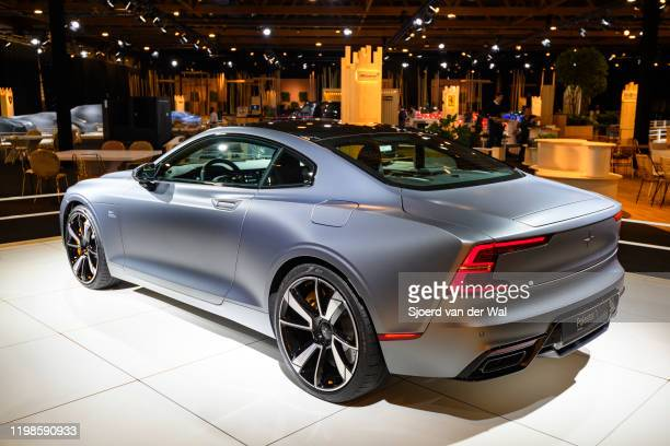 Polestar 1 2door hybrid sports car coupe in matte grey on display at Brussels Expo on JANUARY 08 2020 in Brussels Belgium Polestar is the performance...