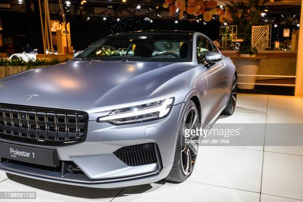 Polestar 1 2door hybrid sports car coupe in matte grey on display at Brussels Expo on JANUARY 08 2017 in Brussels Belgium Polestar is the performance...