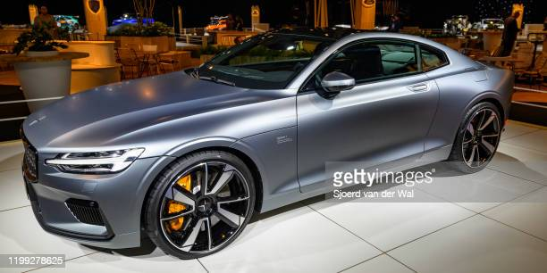 Polestar 1 2door hybrid sports car coupe in matte grey on display at Brussels Expo on January 8 2020 in Brussels Belgium Polestar is the performance...