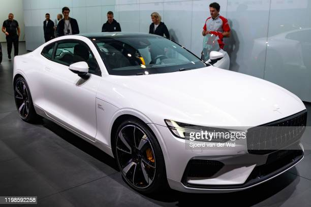 Polestar 1 2door hybrid sports car coupe in white on display at Brussels Expo on JANUARY 09 2017 in Brussels Belgium Polestar is the performance...