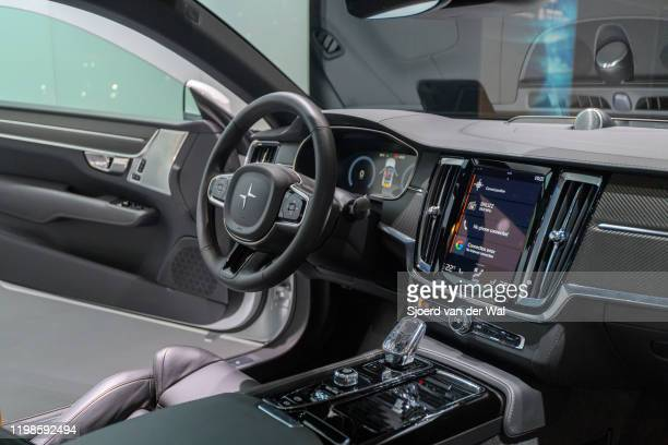Polestar 1 2door hybrid sports car coupe interior in white on display at Brussels Expo on JANUARY 09 2017 in Brussels Belgium Polestar is the...