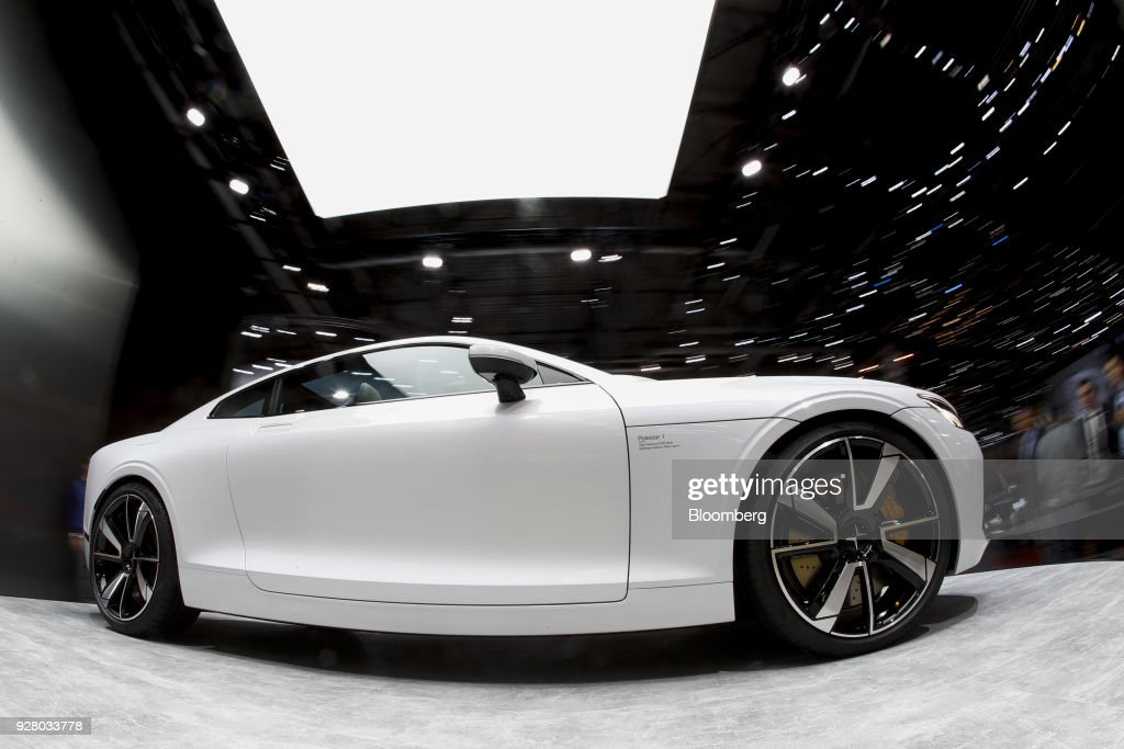 A Polestar 1 electric automobile, manufactured by Volvo, sits on display on the opening day of the 88th Geneva International Motor Show in Geneva, Switzerland, on Tuesday, March 6, 2018. The show opens to the public on March 8, and will showcase the latest models from the world's top automakers. Photographer: Stefan Wermuth/Bloomberg via Getty Images