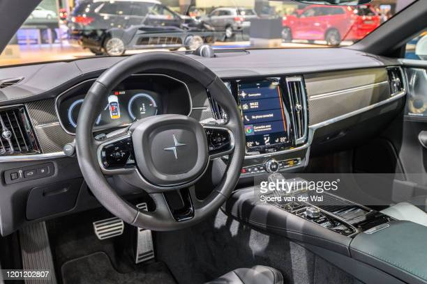 Polestar 1 hybrid sports car coupe interior in white on display at Brussels Expo on January 9, 2017 in Brussels, Belgium. Polestar is the performance...