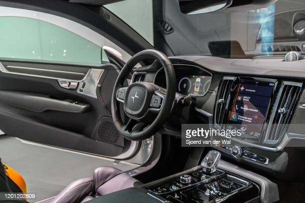 Polestar 1 hybrid sports car coupe interior in white on display at Brussels Expo on January 9 2017 in Brussels Belgium Polestar is the performance...