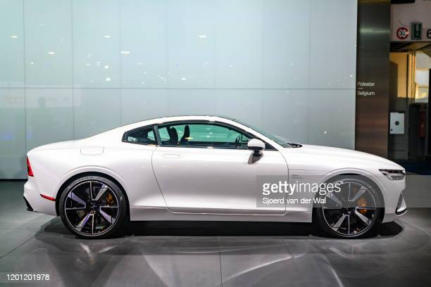 Polestar 1 n2door hybrid sports car coupe in white on display at Brussels Expo on January 9 2017 in Brussels Belgium Polestar is the performance...