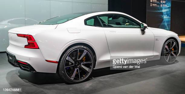 Polestar 1 twodoor hybrid sports car coupe in white rear view on display at Brussels Expo on January 9 2017 in Brussels Belgium Polestar is the...