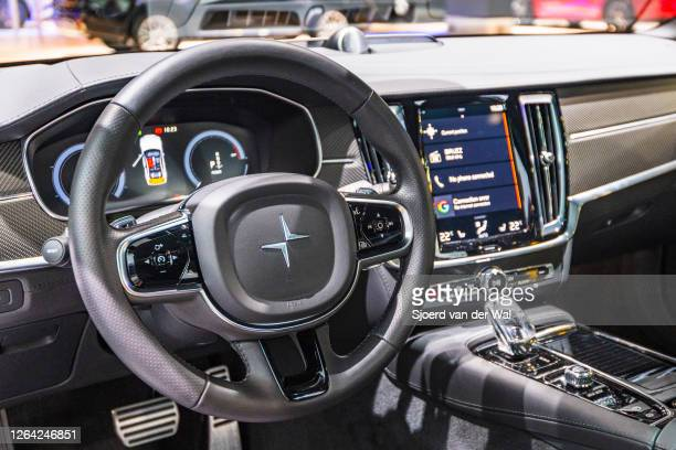 Polestar 1 two-door hybrid sports car coupe interior in white on display at Brussels Expo on January 9, 2017 in Brussels, Belgium. Polestar is the...