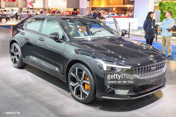 Polestar 2 allelectric 5door fastback car in black on display at Brussels Expo on JANUARY 09 2017 in Brussels Belgium Polestar is the performance...