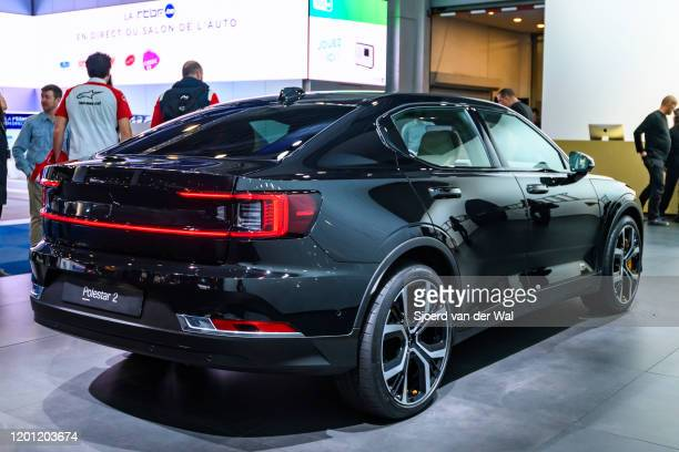 Polestar 2 allelectric 5door fastback car in black on display at Brussels Expo on January 9 2017 in Brussels Belgium Polestar is the performance...