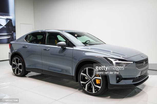 Polestar 2 allelectric 5door fastback car in grey on display at Brussels Expo on JANUARY 09 2017 in Brussels Belgium Polestar is the performance...