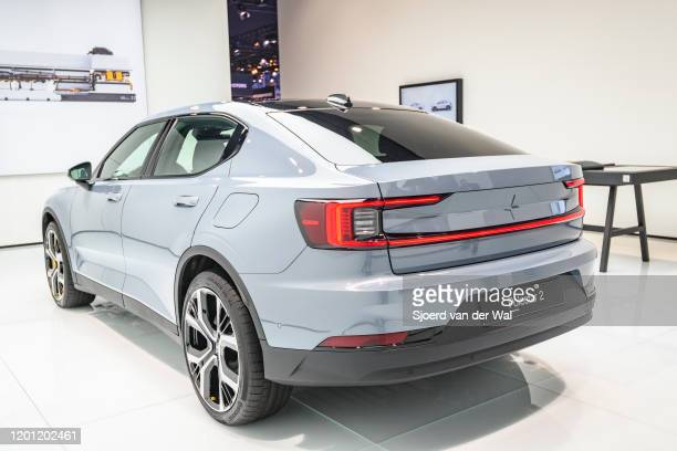 Polestar 2 all-electric 5-door fastback car in grey on display at Brussels Expo on January 9, 2017 in Brussels, Belgium. Polestar is the performance...