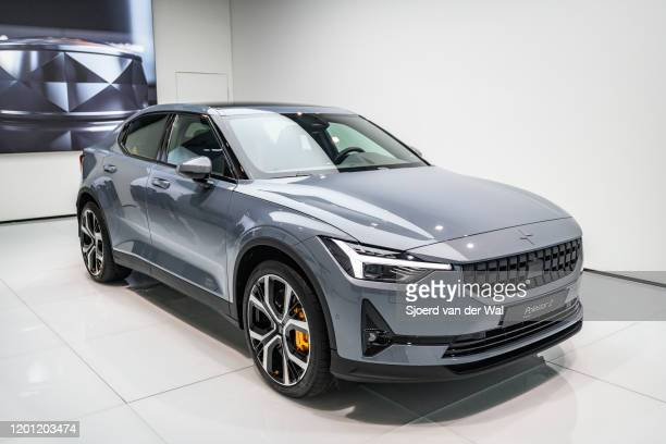 Polestar 2 allelectric 5door fastback car in grey on display at Brussels Expo on January 9 2017 in Brussels Belgium Polestar is the performance...