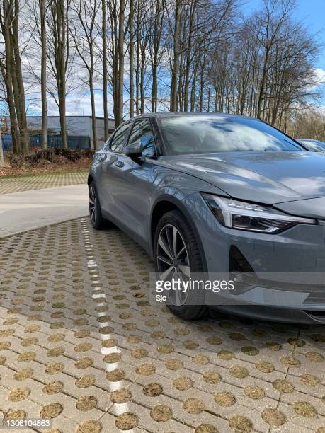 """polestar 2 all-electric 5-door fastback car in grey parked in a forest - """"sjoerd van der wal"""" or """"sjo"""" stock pictures, royalty-free photos & images"""