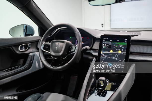 Polestar 2 allelectric 5door fastback car interior in black on display at Brussels Expo on JANUARY 09 2017 in Brussels Belgium Polestar is the...