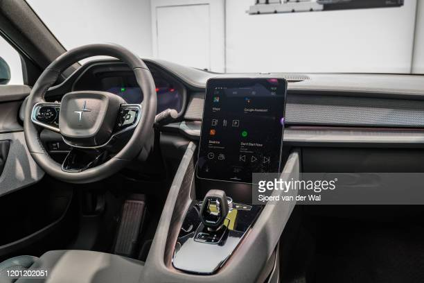 Polestar 2 all-electric 5-door fastback car interior in black on display at Brussels Expo on January 9, 2017 in Brussels, Belgium. Polestar is the...