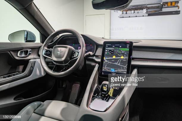 Polestar 2 allelectric 5door fastback car interior in black on display at Brussels Expo on January 9 2017 in Brussels Belgium Polestar is the...