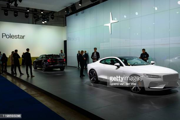 Polestar motor show stand with the Polestar 1 2door hybrid sports car coupe and Polestar 2 allelectric 5door fastback car on display at Brussels Expo...