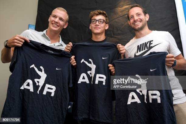 Polevaulters Sam Kendricks of the US Armand Duplantis of Sweden and Renaud Lavillenie of France pose during a press conference on the eve of the...